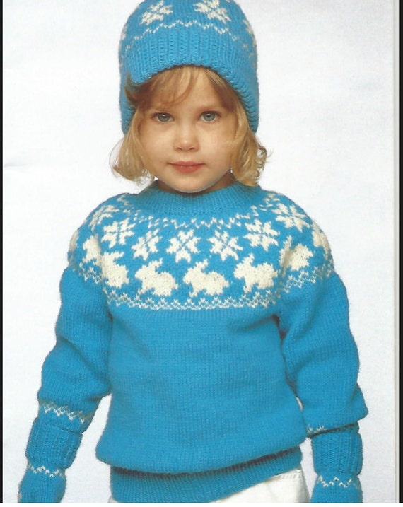 Rabbit Sweater Knitting Pattern : Knit pattern childs bunny sweater round neck long sleeves