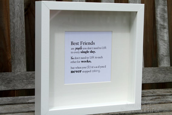 Friendship Quotes For Picture Frames : Framed quote print friends best by samanthakgifts