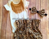 High waist bloomers, leopard print high wasit shorts, bloomers, baby girl clothes, fringe onesie, leopard bow headband, matching set