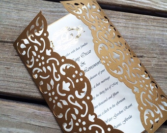 Elegant Wedding Invitation, laser cut, Modern Wedding, Monogram, Foiled, Gate-fold