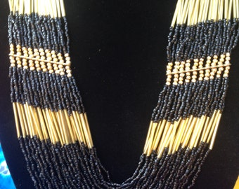 Fab Bead Necklace- Black & Gold
