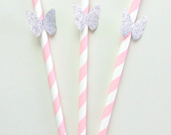 12 pink and silver butterfly paper straw...paper straw...birthday...party