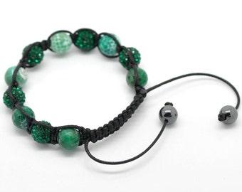 Green Onyx Rhinestone Macramé Shamballa Bracelet 7-10 Inches Adjustable