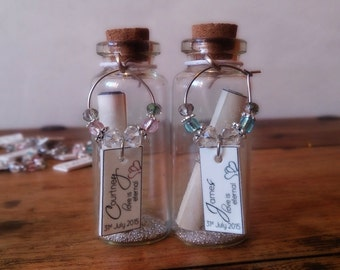 Custom Made Wedding Message In A Bottle with Wineglass Charm