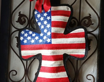 Patriotic Burlap Cross Door Hanger Decoration and Wreath Replacement