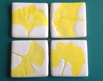 Set of 4, ceramic tiles, leaves of the gingko biloba tree, garden decor, home decor, handmade, unique gift