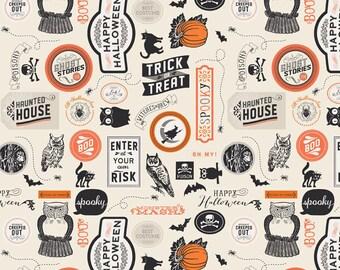 Happy Halloween stickers by Deena Rutter for Riley Blake fabrics half yard or yardage text print