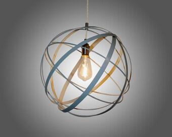 LED Rustic Light Blue Strapped Metal Pendant Light with LED Edison Bulb