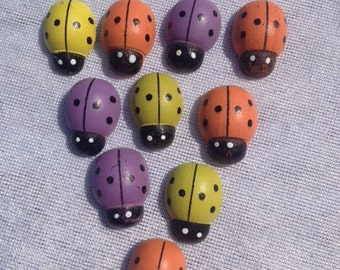 Set Of 20 Ladybugs Purple Orange Yellow 0.75 Inch Scrapbooking Craft Supplies