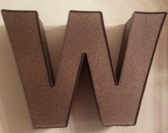 "Reclaimed Channel Letter ""W"" in Dark Bronze with Sand Texture Finish"