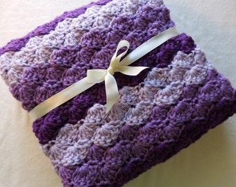 Crochet Baby Blanket - Girl - Travel / Stroller / Car Seat - Purple Shades - Light Purple - Dark Purple - Baby Shower Gift - Pram - Knit