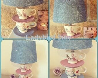 Luxury Unique alice in wonderland mad hatters tea party sparkle teacup lamp