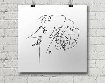 Kurt Vonnegut Print - Balzac, Candid, Satire, Satirical, Philosophy, Philosopher, Slaughterhouse 5, Breakfast, Wall art, Poster,  Cool Gift!