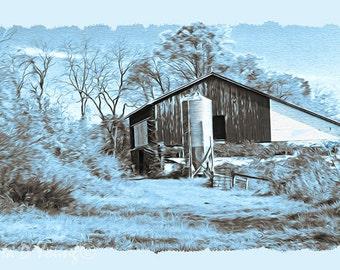 Rustic Barn Print, Americana Wall Art, Country Barn and Silo, Winter Duotone, Blue and Brown, Rural Pennsylvania Farm, Fine Art Photography