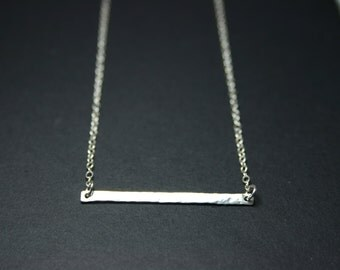 Long bar necklace. Delicate sterling silver hammered thin bar necklace. Layered necklace. Horizontal bar necklace