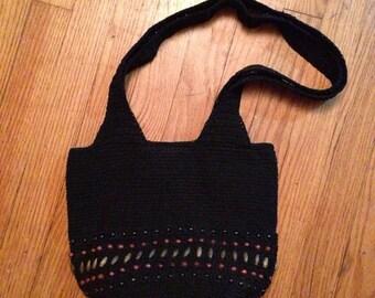 Black Crochet Beaded Purse