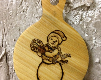 COSM1 Unique Handcrafted Wooden Cypress Christmas Ornament - Snowman Holiday Decor