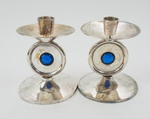 Candlestick Holders, Art Deco Style with wax catcher, Silver over Brass, Round Medallion Center Cerulean Blue Glass Ball,  Vintage Decor