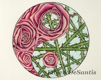 Pink Roses and Green Stem/Thorns Yin Yang drawing, Yin Yang Art, Floral art, Spiritual, Symbolic, Wall Art, Home Decor, SFA.