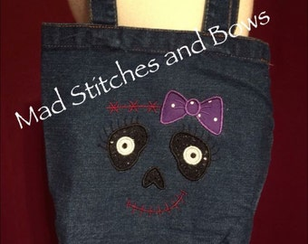 Custom embroidered Halloween tote/ trick or treat bag, Frankenstein