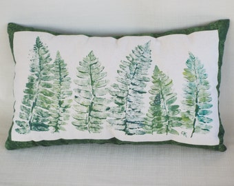 Nature Print Fern Pillow - Hand Painted Pillow - Green Throw Pillow - Decorative Pillow - Accent Pillows - Natural Decor - Nature Art