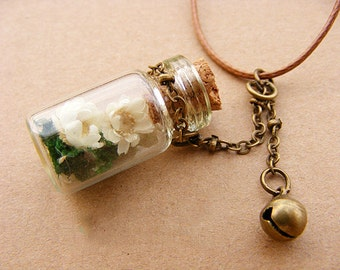 Tiny Forget-me-not Glass Bottle Pendant Necklace - Preserved Flowers in Glass Vial, Glass Bottle Pendant, Handmade Necklace