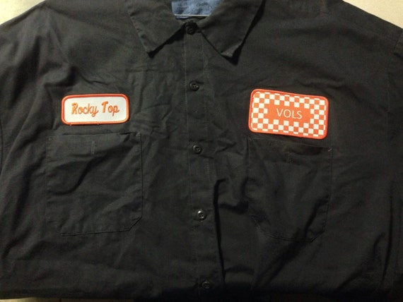 Checkerboard vols workshirt for Mechanic shirts custom name patch