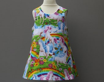 Unicorn Childrens  Pinafore, Girls  Summer A-Line Dress, Twins Dress's,  Baby Pinafore, Designer Fabric