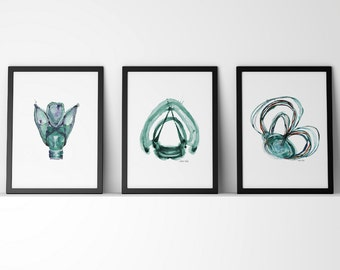 Set of 3 Teal Speech Prints - Larynx, Semicircular Canals, Vocal Cord Watercolor Prints in Teal - ENT Art - Audiology Art