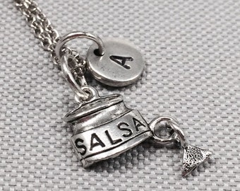 Salsa necklace, salsa charm, food necklace, food charm, salsa and chips, personalize necklace, initial charm, monogram , food jewelry