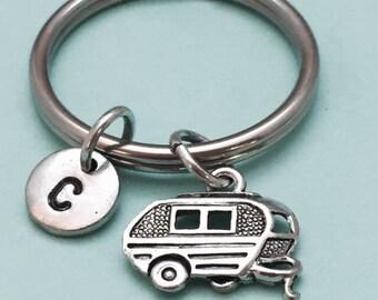 Camper keychain, camper charm, rv keychain, travel trailer, personalized keychain, initial keychain, monogram, customized