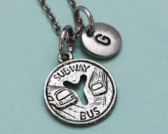 Subway token necklace, subway token charm, ny transportation, subway charm, personalized necklace, initial necklace, monogram, bus token