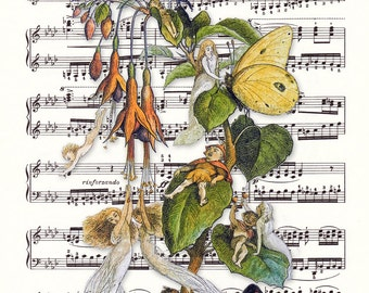 Fairy Art Print - Music Sheet Art Print - Vintage Book Art Print - Fae Art Print - Music Sheet Fairy Art - Fairy Book Print - Fae Book Print