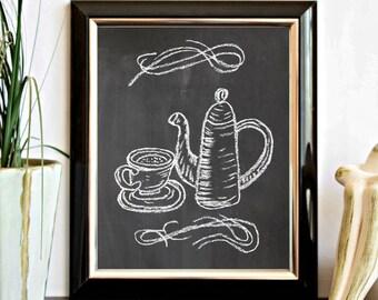 Chalkboard Printable Wall Art - Coffee / Tea Pot And Cup - Hand Drawn Kitchen Art Wall Decor - Kitchenware Art - Digital Artwork