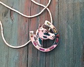 Horse shoe/horse head equestrian necklace pink fire opal and cz sterling silver plated