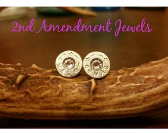 44mag bullet stud earrings on hypoallergenic posts for sensitive ears with a clear swarovski crystal (hand sliced, nickel plated)