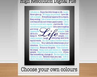Words To Live By, Inspiring Life Quotes/Sayings, Wall Decor, Digital Print