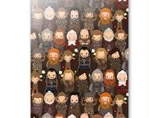 Hobbit inspired Greetings Card - cute, chibi