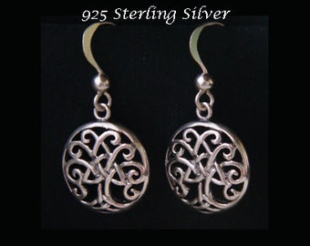 Silver Drop Earrings: Lovely Celtic Tree of Life 925 Sterling Silver Earrings with Burnished Highlights | Silver Dangle Earrings TOLE008