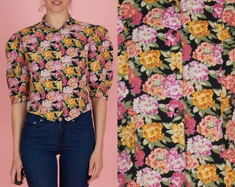 ON SALE Vintage 80s Medium Button Down Floral Shirt with Puffed Sleeves