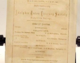 Adelphic Union Literary Society - Maryville College - Sixth Anniversary Program:  May 25, 1875