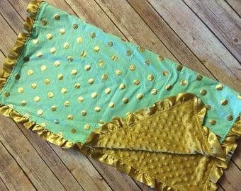 Mint and Gold Polka Dot Minky Blanket