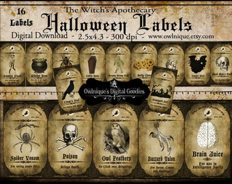 Vintage Printable Apothecary Labels, Vintage Apothecary Halloween Labels, Digital Download, Halloween tags, Vintage Apothecary Labels,