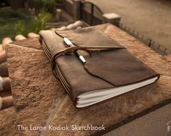 Large Kodiak Leather Sketchbook   Rustic Leather Sketchbook   Handmade in the U.S.A.