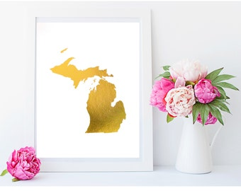 Real Gold Foil Print - State of Michigan Print - Go Blue - 8X10 Wall Art - Home Decor - Geographical Art - Pure Michigan