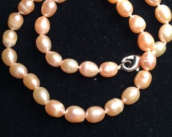 Peach color large cultural pearl necklace