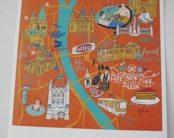 Illustrated Map of Budapest, Print