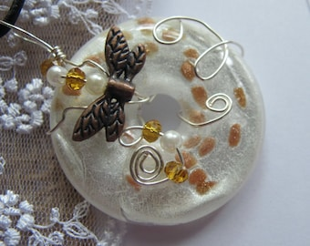 Wire wrapped glass pendant necklace