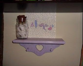 Small free hanging wall shelf-hand painted purple distressed simple shelf