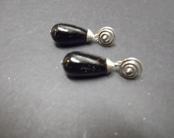 Black Murano Glass Teardrop Earrings with Sterling Posts